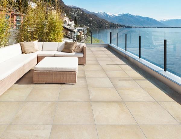 Terrassenplatte Feinsteinzeug Elysee Sand 60 x 60 x 2 cm