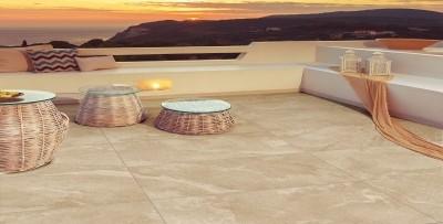Terrassenplatte Feinsteinzeug Pietra di Beola Sand 45 x 90 cm 2 cm stark